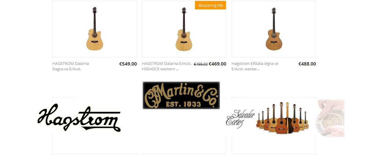 Direct naar gitaren en accessoires