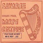Harpsnaar J 33 E, 5e octaaf, wound steel, voor kleine harp, lengte: 1,2 meter