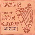 Harpsnaar J 34, C, 5e octaaf, wound steel, voor kleine harp, lengte: 1,2 meter