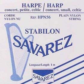 Harpsnaar B, rectified nylon, 0,56mm, lengte: 1 meter, hoogste B