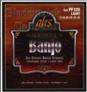 GHS PF-120 snaren set 6-snarige banjo L011,L014,L018,LW24,LW34, LW42
